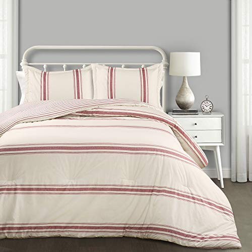 Lush Decor Farmhouse Stripe 3 Piece Comforter Set, Full/Queen, Red