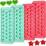 4 Pieces Heart Star Shaped Silicone Ice Cube Tray 26 Cavities Ice Cube Mould Easy to Release Flexible Ice Tray for Whiskey, Cocktailsand Chilled Drinks