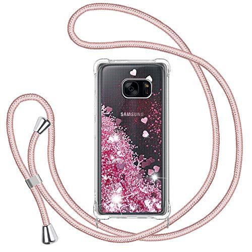 TUUT Funda Glitter Liquida con Cuerda para Samsung Galaxy S7, Glitter Cristal...