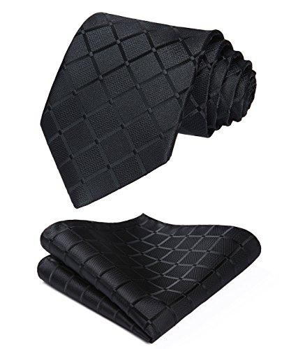 HISDERN Herren Krawatte Taschentuch Check Krawatte & Einstecktuch Set Schwarz