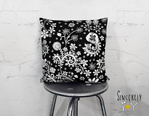 Sincerely Joy Black And White Floral Birds Throw Pillow Unique Decorative Art Cushion Decorative Home Decor Accessories Original Art By Mixed Media Artist C Cambrea From Amazon Daily Mail
