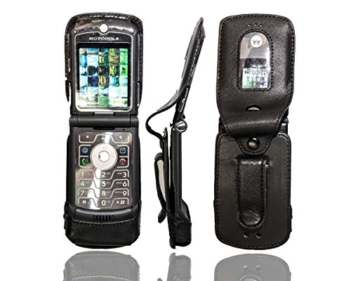 caseroxx Hülle Ledertasche mit Gürtelclip für Motorola Razr V3 aus Echtleder, Tasche mit Gürtelclip & Sichtfenster in schwarz