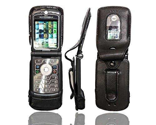 caseroxx Ledertasche mit Gürtelclip für Motorola Razr V3 aus Echtleder, Handyhülle für Gürtel (mit Sichtfenster aus schmutzabweisender Klarsichtfolie in schwarz)