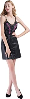Womens PU Faux Leather Studded Floral Embroidery Spaghetti Strap Dress