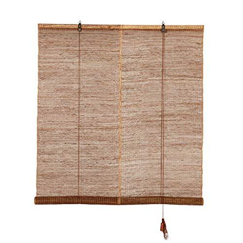 Bamboo Curtain Persiana De Lino Ramiè para Interiores Enrollable Natural Estores Decoración De Ventanas Cortina De Madera Natural,Personalizable