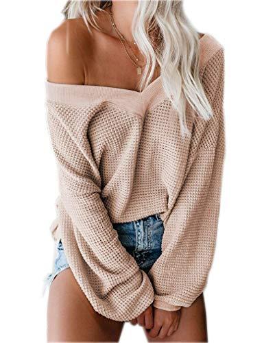 Damen Langarm One Shoulder Shirt Bluse V Ausschnitt Pullover Oversize Sweatshirt Tops (Aprikose,L)