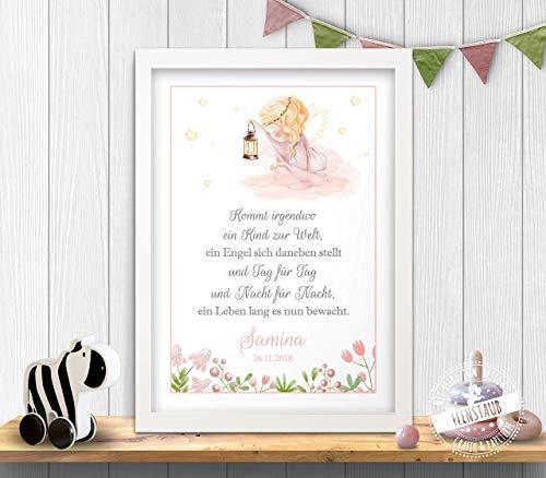 Schutzengel Bild Geschenk für Patenkind zur Taufe & Geburt, Engel Leinwand Poster personalisierbar