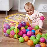 Vinsani® 100 Multicoloured Soft Plastic Play Pit Balls with Clear PVC Carry Bag for Indoor Outdoor Swimming Pool Trampoline Play