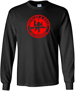 Heckler and Koch Red Logo Raglan Baseball T Shirt Pro Gun Pistol New White Red