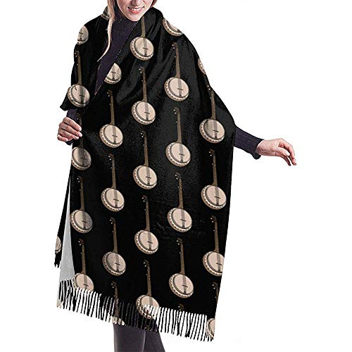 Elaine-Shop Banjo Musical Art Print Warmer Pashmina Scarf Shawl Oversized Wrap Scarf para mujeres