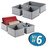 mDesign 6er-Set Stoffbox für Schrank oder Schublade – die ideale Aufbewahrungsbox (Stoff) – flexibel verwendbare Stoffkiste – grau - 2