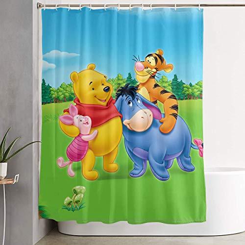 LIUYAN Duschvorhang mit Haken – Winnie Pooh Happy Time Wasserdichter Polyester-Stoff für das Badezimmer Deko, 152,4 x 182,9 cm