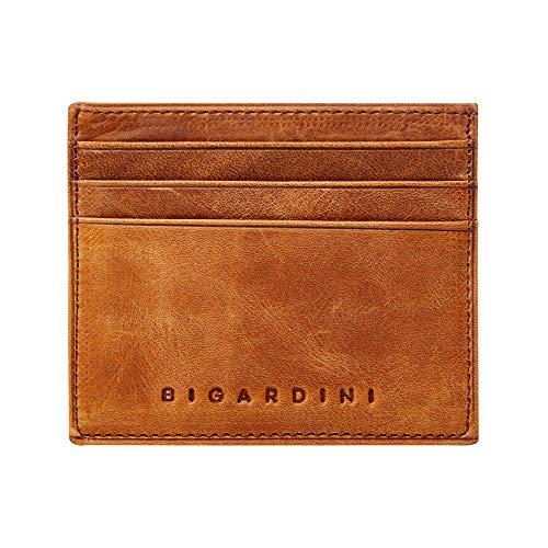Slim Wallet Vintage Genuine Leather Card Holder Minimalist RFID Blocking Credit Card Case for Men and Women by Bigardini (Brown)
