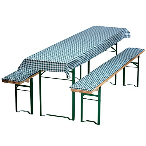 DILUMA Auflagen-Set für Bierzeltgarnitur Kariert 3-teilig Tischdecke 240 x 70 cm für 50 cm breite Biertische und 2 gepolsterte Bankauflagen 220 x 25 cm, Farbe:Grün