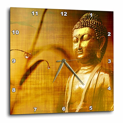 3dRose Golden Buddha with Asia Bamboo Zen Yoga Faith Religion Wall Clock, 15x15