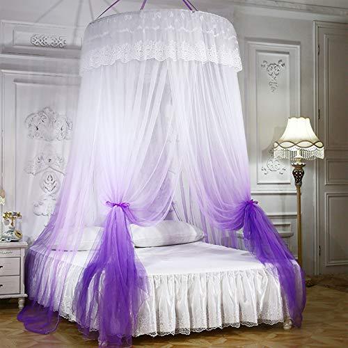 Mosquitero de encaje con luces para cama de niñas, cortinas de cúpula antimosquitos, morado