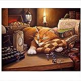 Pinturas con Numeros para Adultos DIY Regalos Ratón Y Gato Kits Manualidades Pinturas para Lienzo Pinturas Oleo 40X50Cm