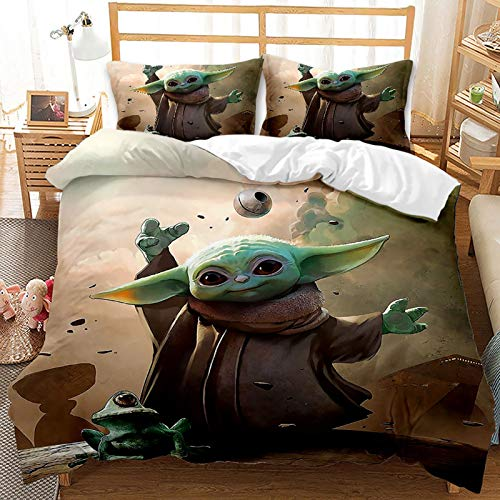 ZWPY 3D Bedding Set - Baby Yoda Printed Quilt Cover, Microfiber Duvet Cover Set Easy Care for Children Teen Adult Single Double King Bed,US Queen