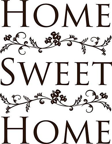 GRAZDesign Wandaufkleber Klebefolie Home Sweet Home - Wandsticker Wandspruch mit Blumenranken - Wandtattoo Flur Eingang schönes Motiv / 64x50cm / 720334_50_080