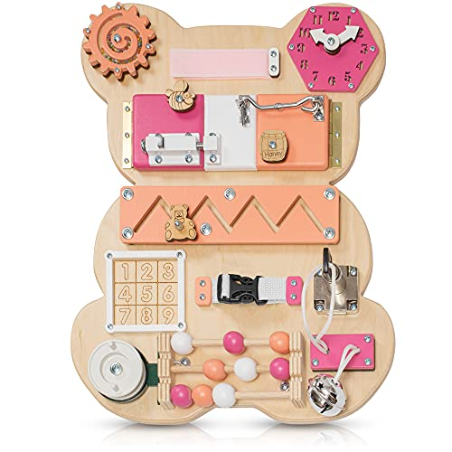Toddler Busy Board Bear for 1 2 3 Year Old - Wooden Handmade Baby Sensory Activity Boards with Keys, Lock, Latches, Time Telling Clock, Buckle - Travel Car Plane Montessori Toys (Multicolored)