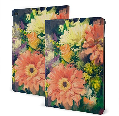 American Spirit Patriotic Veteran Case for New IPad 7th Generation 10.2 Inch 2019 Multi-Angle Viewing Folio Smart Stand Cover Auto Wake/Sleep for IPad 10.2' Tablet-Artwork Drawing Flowers Painting-On