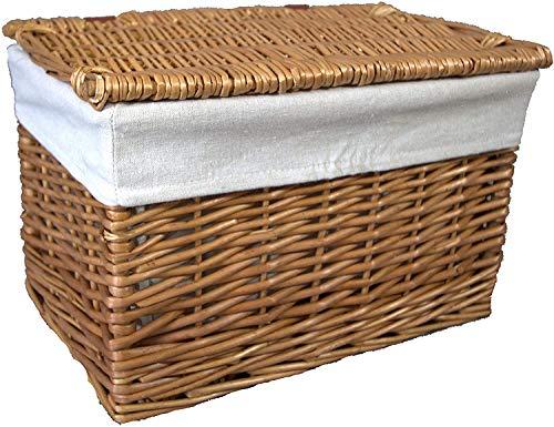 Cestas pequeñas de mimbre 100% enteras. Forro lavable extraíble. Solución de almacenamiento elegante. Para artículos de tocador, juguetes, zapatos y ordenación. En baños y dormitorios (natural).