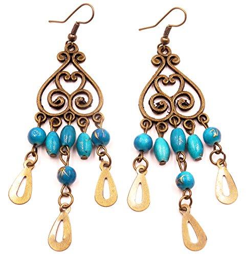 Pendientes étnico joyas India piezas de metal de la India de la industria ligera, color azul turquesa