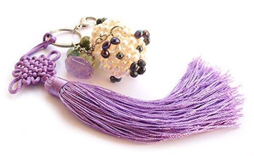 Schlüsselanhänger Handtasche für Stahl, Peridot, Amethyst, Amazonit, Schwein echte Perlen Süßwasserperlen.