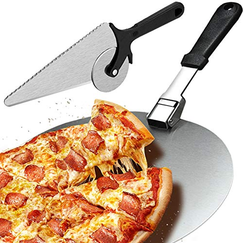 Pizza Cutter Wheel and Pizza Peel Set of 2, Best 10 Inch Pizza Spatula Paddle with Folding Non-Slip Handle & Stainless Steel Pizza Slicer Kit, Oven Tools & Accessories Baking Cake/Bread Server (Black)