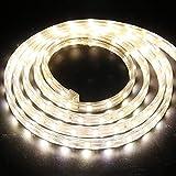XUNATA 1m Tira de LED Regulable Blanco calido, 220V 5050 LED SMD 60 Unidades/m Luz Cuerda Dimmable, IP67 Impermeable para...