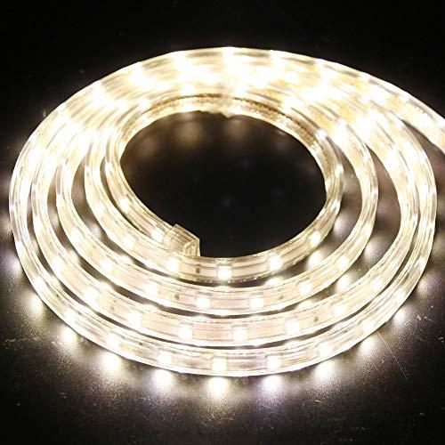 XUNATA 1m Tira de LED Regulable Blanco calido, 220V 5050 LED SMD 60 Unidades/m Luz Cuerda Dimmable, IP67 Impermeable para Decoración Interior