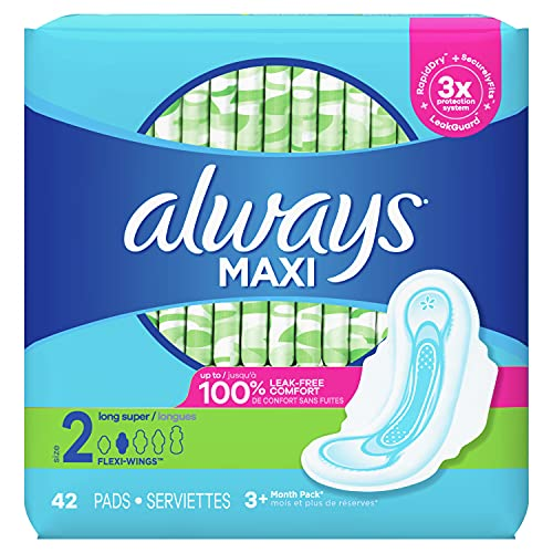 Always Maxi Pads Size 2 Long Super Absorbency Unscented with Wings, 42 Count