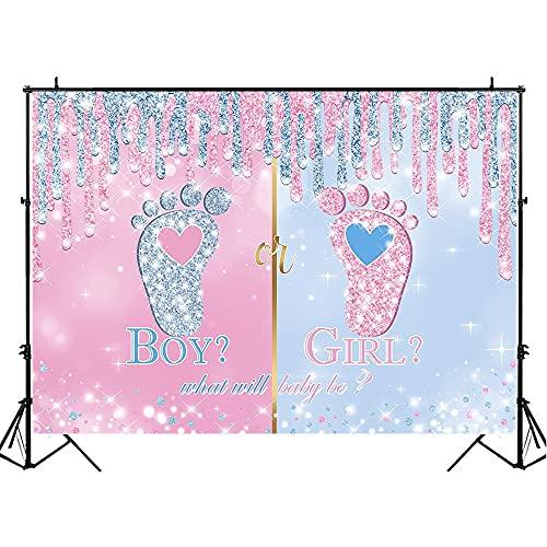 Telón de Fondo de Baby Shower para fotografía Revelación de género Fiesta Niño o niña Fondo fotográfico Póster Estudio fotográfico Sesión A3 7x5ft / 2.1x1.5m