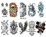 10 Sheets of dark temporary tattoos pasted on human hand neck wrist art fashion crown, animal, skull tattoo removable waterproof