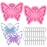 BEATURE 2 Pieces Butterfly Skeleton Keychain Silicone Molds with 20 Pieces Key Rings, Cute Handmade Mold for Jelly, Candy, Fondant, Chocolate, Baking, Cake Decoration, Pendant and Polymer Clay (Pink)