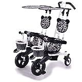 Cochecito de bebé Silla de paseo doble triciclo Cochecito doble bicicleta de bebé Bicicletas cinco modos gratis con protección de seguridad 3 puntos carro de bebé (color: A)