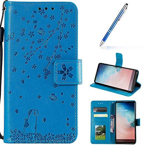 Robinsoni Cover Compatibile con Xiaomi Redmi Note 7 Case Scintillare Glitters Lucido PortaLibro Custodia Retro 3D Ciliegia & Gatto Stampato Pelle PU Libretto Cover Flip Farfalla Caso, Blu