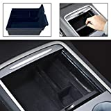 Center Console Organizer Tray Compatible with Latest 2021 Tesla Model 3 DIBMS Flocked Armrest Hidden Cubby Drawer Storage Box ABS Material for Tesla Model 3 Accessories