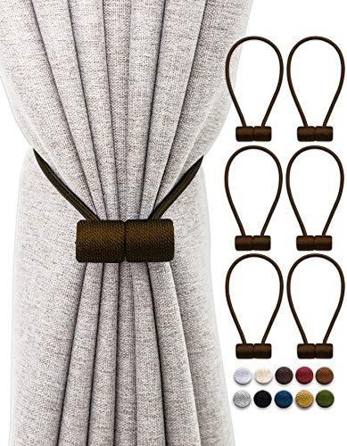 TECVINCI Magnetic Curtain Tiebacks Drapery Tiebacks, Upgraded 6 Pack 16 Inch Decorative Curtain Holdback Curtain Clip Buckle for Blackout Sheer Window Treatment Home Office -Coffee