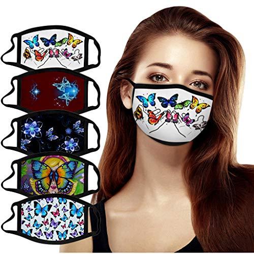 5 Stück Atmungsaktive Mundmasken Schutztuch Gesichtsschutz Schutzhülle Outdoor Schutztuch staubdicht Winddicht Mund Schal für die persönliche Gesundheit Einstellbar Sportmaske (WH)