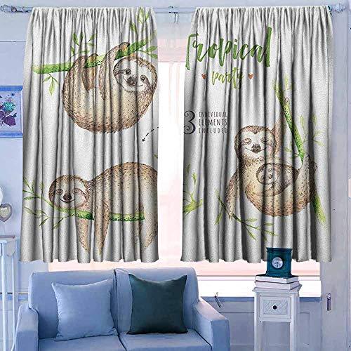 Gordijn Panelen Set van 2 Moderne Boerderij Landgordijnen Luiaard Kinderachtige Collectie van Grappige Leuke Luie Luiaarse Luiaards Knuffelen Familie Romantiek Liefde Bleke Bruin Grijs Groen