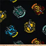 Camelot Fabrics Harry Potter House Crests Tossed Fleece Fabric, 1, Black, Fabric by the Yard