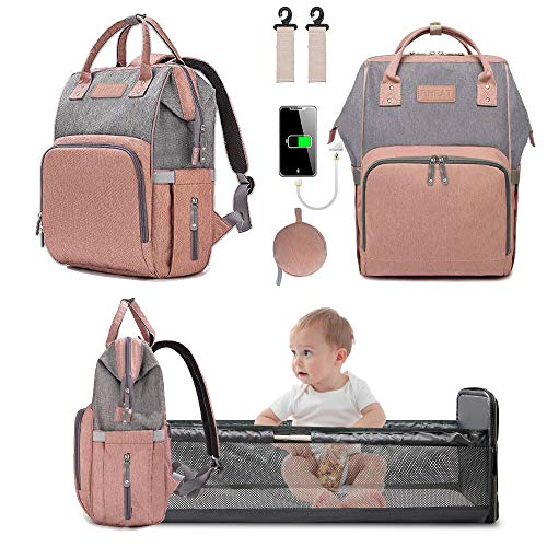 3 in 1 Diaper Bag Backpack with Changing Station Portable Travel Baby Bed Back Pack with USB Charge Foldable Waterproof Maternity Diaper Changing Bed Large Capacity Gifts for Mom and Dad Orange-Pink