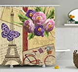 oooooo Paris Rideau de French Decor Landmark Tour Cartes Postales avec Toile de Fond Abstrait rayé Art Print Decor de sertie des Long Beige Purple 183 * 183CM