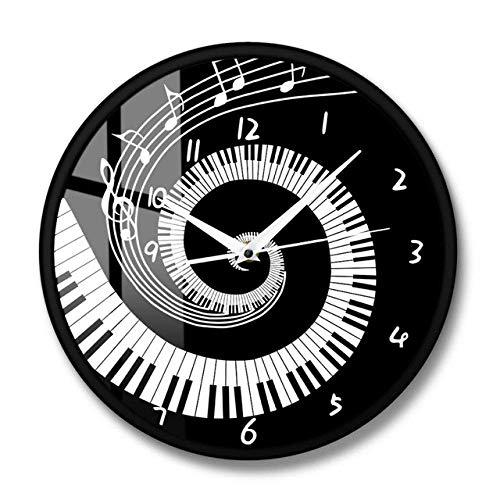 Yxxc Wanduhr Elegante Klaviertasten Schwarz und Weiß Moderne Wanduhr Musiknoten Welle Runde Musik Tastatur Wanduhr Musikliebhaber Pianist Geschenk, Metallrahmen