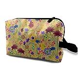 Bolsa de cosméticos para el bolso, Estampado de flores pictórico en Orange_1902, Tela Oxford Bolso colorido Viaje mini