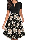 YATHON Cocktail Dresses for Women, Retro Black Flower Patchwork Plus Size O Neck Vintage Work Church Prom Party A Line Dress with Pockets (XL, YT018-Black Khaki)