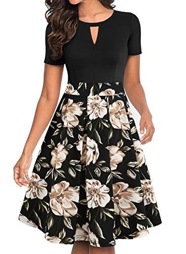 YATHON Casual Dresses for Women Party, Classic Elegant Black Khaki Floral Print Patchwork Pocket Holiday Beach Swing Work Business Dress (M, YT018-Black Khaki)