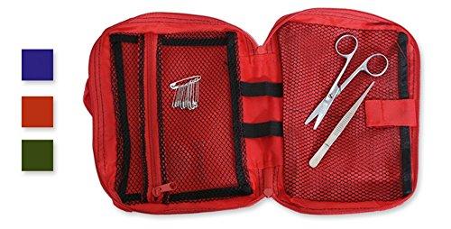 Dakota Tasche aus Nylon mit Tragegriff. Inklusive Schere, 12 Nadeln und Pinzetten. Rot, Blau oder Grün 1 Stück