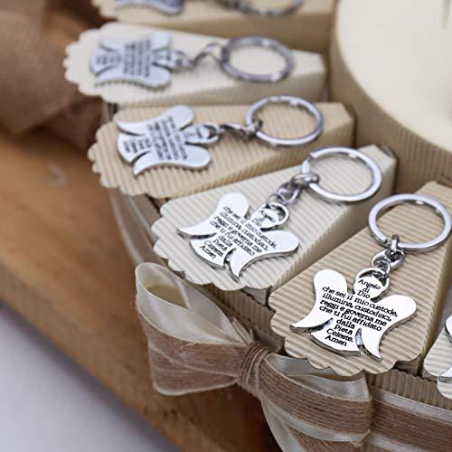 VialeMagico Bomboniere Sacre Portachiavi Angelo di Dio Custode su Torta Alzatina Confetti TRG175P (Torta 20 Fettine)